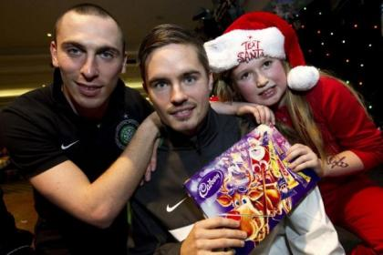 Scott Brown and Mikael Lustig spread festive cheer at St Denis' Primary