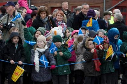 Nicola Sturgeon launched the ferry as yard workers and school children looked on