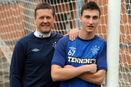 Luca Gasparotto, with Rangers youth team coach Billy Kirkwood, is heading back to Toronto for the festive period