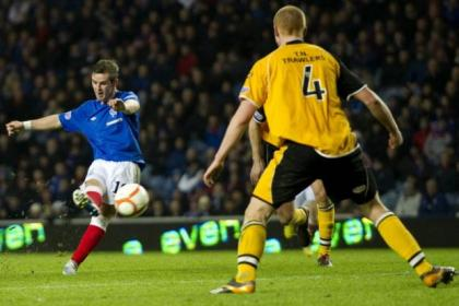 David Templeton scores the second of his two goals in Rangers' 3-0 win over Annan Athletic on Wednesday night