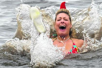 Fun and frolics in the icy Firth of Clyde waters for Clic Sargent's Dip wi a Nip
