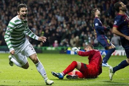 Tony Watt hit Celtic's second goal in victory over Barcelona