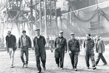 Men come off shift at Govan shipyard