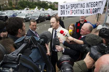 Dundee chief executive Scot Gardiner was surrounded by the media as he arrived at Hampden today for the SFL vote