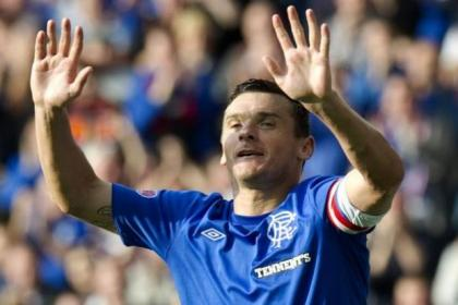 Lee McCulloch celebrates after scoring one of his two goals on Sunday against Elgin City