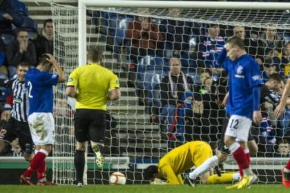 Neil Alexander is on his knees after his blunder gifted Elgin City a late equaliser at Ibrox