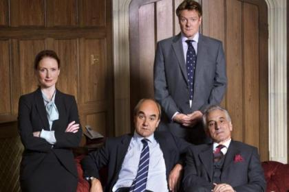 nChris Larkin, back, and from left, Zoe Telford David Haig and Henry Goodman star in new Yes Prime Minister. The original cast included, below from left, Derek Fowlds, Paul Eddington and Nigel Hawthorne