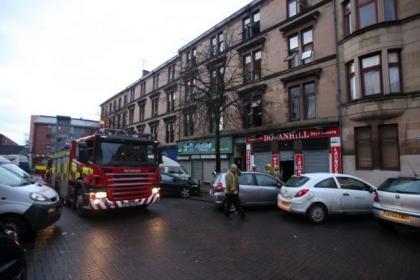 Firefighters were still on the scene as day broke