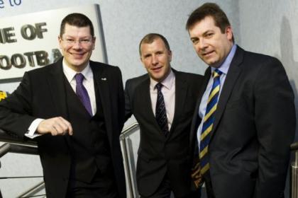 SPL chief executive Neil Doncaster, left, SFA chief executive Stewart Regan, centre, and SFL chief executive David Longmuir