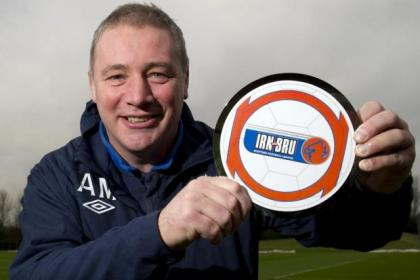 Ally McCoist with his Irn-Bru Manager of the Month award