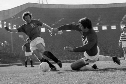 Rangers' Alex MacDonald attempts to round Celtic keeper Peter Latchford during the 1978 League Cup Final at Hampden, which Rangers won 2-1 after extra-time