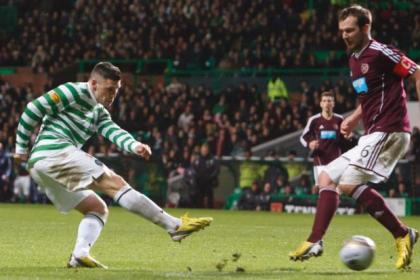 Gary Hooper fires home his second goal during Celtic's 4-1 victory against Hearts