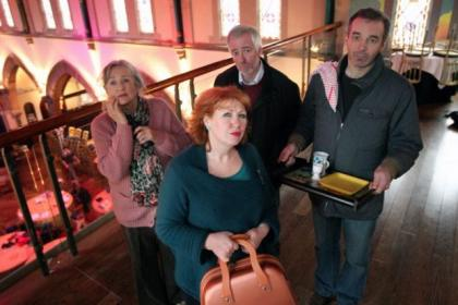 Alan McHugh, far right, with Play, Pie & A Pint co-stars Anne Kidd, Libby McArthur, and Finlay McLean. Picture: Colin Templeton