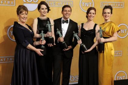 n Claire Danes, above, Anne Hathaway, Daniel Day-Lewis, right, Ben Affleck, right above, and Phyllis Logan, with Downton colleague Michelle Dockery, celebrate