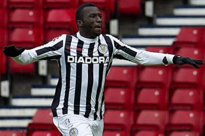 St Mirren's Esmael Goncalves celebrates his opening goal at Hampden on Sunday