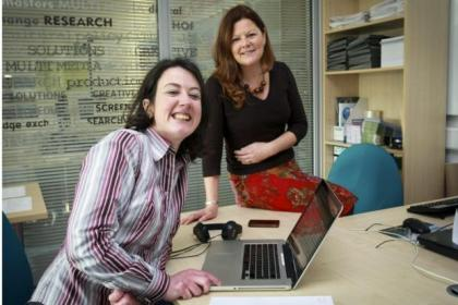 Julie McElroy with Professor Gayle McPherson of UWS, Paisley