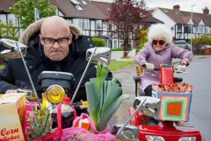 Harry Hill with Julie Walters, who plays his nan in The Harry Hill Movie