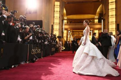 Actress Jennifer Lawrence arrives at the Oscars held at Hollywood & Highland Center on February 24, 2013 in Hollywood, California. (Photo by Christopher Polk/Getty Images)