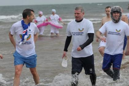 Dozens of people braved the freezing waters in the Firth Of Clyde to help raise cash for the Prince And Princess of Wales Hospice in Glasgow