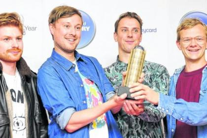 Dave Maclean, Vincent Neff, Jimmy Dixon and Tommy Grace, of Django Django, at the nominations ceremony for the  Barclaycard Mercury Prize