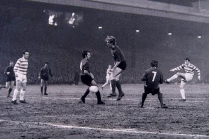 Bertie Auld scores the first of his two goals against Fiorentina at Parkhead in 1970