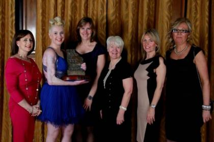 Lisa Stephenson, winner Erin, Kathleen Grainger, Isabel McCue, Sheila McLean (representing Blanche Nicolson) and Julie Love