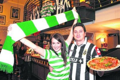 Piazza Italia's Lori Gallagher and Federico Martone are ready to welcome football fans of both sides