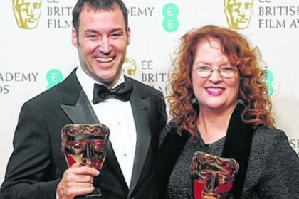 Mark Andrews and Brenda Chapman collect the Best Animated Film award for Brave