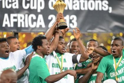 Efe Ambrose with the African Cup of Nations trophy
