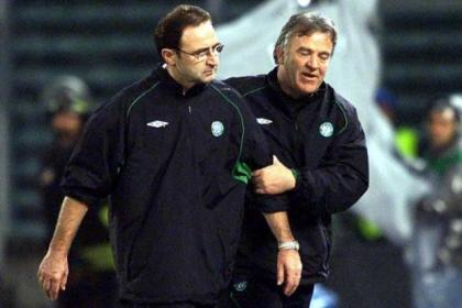 Manager Martin O'Neill and assistant John Robertson after Celtic's 3-2 defeat to Juventus in Turin, losing to a controversial last-minute penalty, in 2001