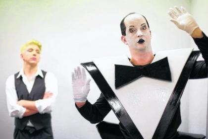 Drew Taylor, front, as Klaus Nomi and Laurie Brown as David Bowie