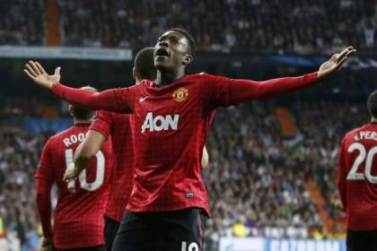 n Head of steam...Danny Welbeck  towers above the Madrid home to give United the edge and, below inset, Ferguson and Mourinho at full time