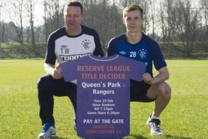 Tommy Wilson and Robbie Crawford advertise tonight's clash that could see Rangers lift their first trophy of the season if they defeat Queen's Park