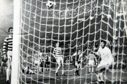 Goalkeeper Evan Williams looks on helplessly as Feyenoord's Israel scores the equaliser during Celtic's 2-1 defeat in the 1970 European Cup final