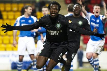 Efe Ambrose celebrates after putting Celtic into a first-half lead