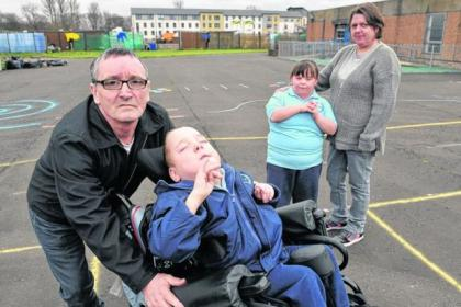 Peter Walker, with son Stephen, and Liz McCafferty, with daughter Cara, are angry that the children have nowhere to play