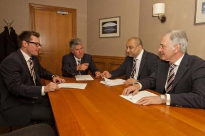 Gers chairman Malcolm Murray (centre) with financial director Brian Stockbridge (left), Imran Ahmad of Zeus Capital and CEO Charles Green (right)