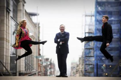 Suzanne Coyle and Sean Downes show off their high-kicking style to Gordon Matheson