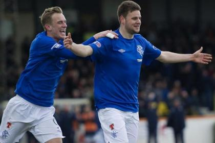 Sebastien Faure celebrates his goal at Berwick with Dean Shiels