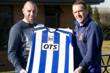 Kris Boyd with Kilmarnock boss Kenny Shiels