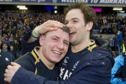 Duncan Weir and Ruaridh Jackson celebrate Scotland's 12-9 victory over Ireland at Murrayfield last Sunday