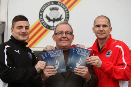 Partick Thistle's Paul Paton and interim manager Alan Archibald, left and right, join Still Game funnyman Ford Kiernan to help promote bowel cancer awareness. Picture: Colin Templeton