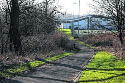 The girl was attacked in this lane near the Donald Dewar Sports Centre