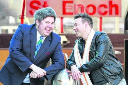Comedians Bruce Devlin and Des Clark helped launch the Glasgow International Comedy festival at St Enoch Subway Station