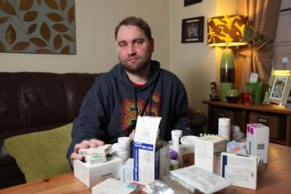 Anders Gibson takes an array of medication every day