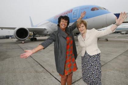 Thomson Airways boss Amanda McMillan and Nicola Sturgeon waved off the flight