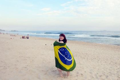 Catherine takes in Copacabana Beach.
