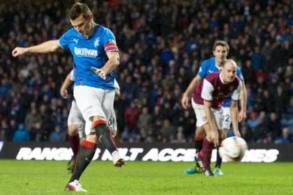 Rangers' Lee McCulloch scores penalty during the Scottish League One match