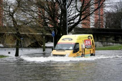The River Leven broke its banks in Dumbarton forcing street closures