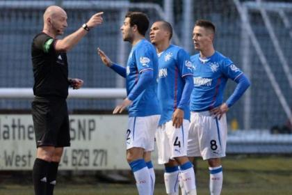 Richard Foster pleads his case to referee Bobby Madden on his Rangers return